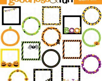 Buy 2, Get 1 FREE - Happy Halloween Frames Clipart - Digital Halloween Frames Clipart - Instant Download