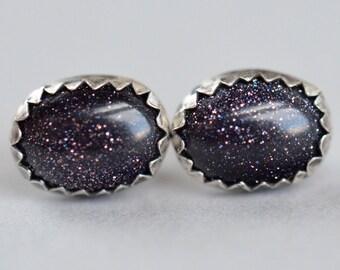 blue goldstone 8x6mm sterling silver stud earrings pair