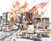 Atlanta Cityscape Skyline Landscape Art Print From Original Watercolor Painting 8 x 10 in Art Print