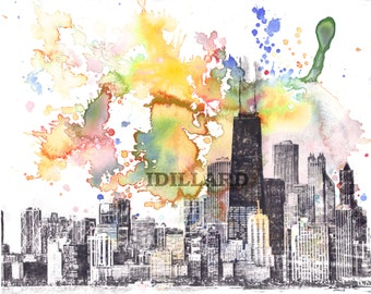 Chicago Cityscape Skyline Landscape Art Print From Original Watercolor Painting 8 x 10 in Chicago Skyline Art Print