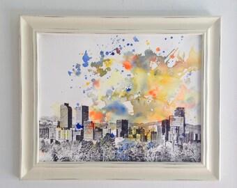 Denver Cityscape Skyline Landscape Painting - Original 11 x 14 in. Abstarct Skyline Watercolor Painting