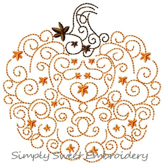 Scroll pumpkin machine embroidery design