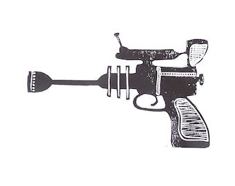 Ray Gun - 8x10 black linocut block print - laser gun poster