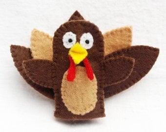 Wild turkey, felt finger puppet, animal puppet, turkey, turkey puppet, turkey finger puppet, turkey felt puppet, felt puppet, farm puppet