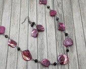 LONG Necklace and Earring Set - Dark Pink Mother of Pearl with Black and Gunmetal