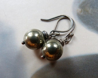 Pyrite sterling silver earrings, wire wrapped earrings, natural jewelry, dangle earrings