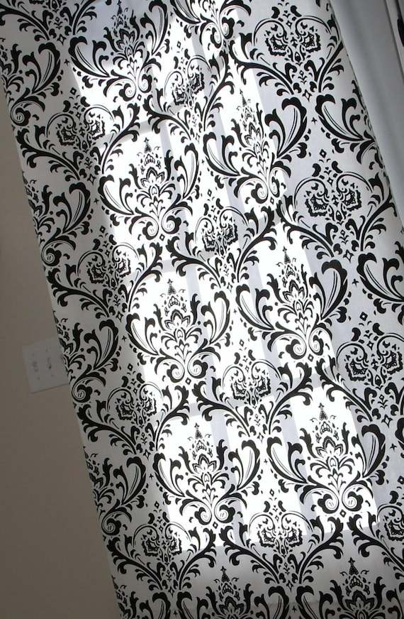 Damask Curtain Panels Black And White Damask Drapery