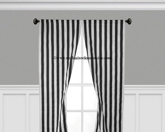 stripe black and white curtain panels black by