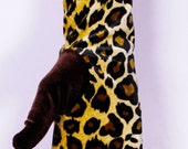 Soft, luxurious, stretch velvet leopard gloves