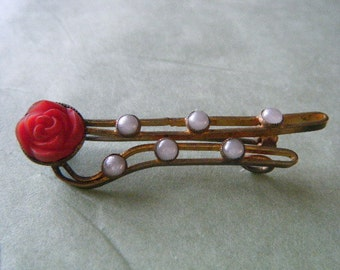 Watch Pin Rose Faux Pearls