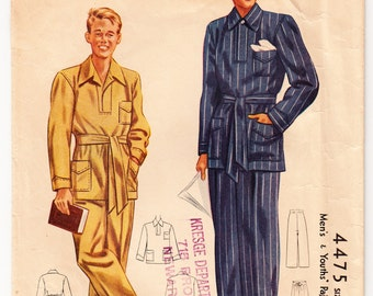 Vintage 1941 McCall 4475 Sewing Pattern Men's, Youth Pajamas Size Neck 38-40 (Medium)