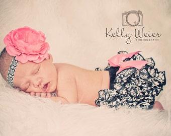 SALE- Ruffle Bum Baby Bloomers Baby Girl Headband Satin Ruffle Bum Damask Baby Bloomer Daiper Cover and Baby Headband-Photo Prop