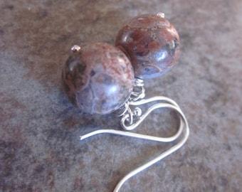 Brown Jasper Earrings, Natural Gemstone, Leopard Skin Jasper, Warm Colours, Autumn Palette, Neutral Browns, Dangle Earrings, Sterling Silver