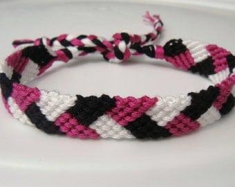 Fuchsia Black and White Friendship Bracelet