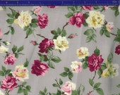Yuwa Roses on Pale Gray AF666014B Cotton Fabric