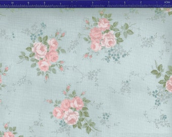 Yuwa Roses on blue  background YWP816845E Cotton Fabric