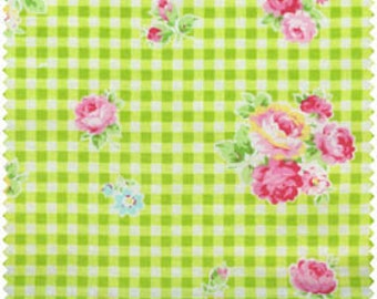 Flower Sugar 2013 by Lecien Green  Gingham Rose 30748-60 Cotton Fabric
