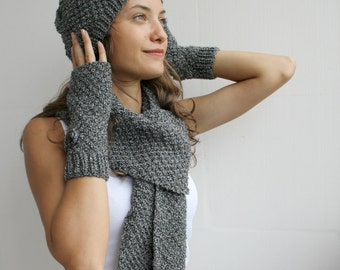 Handknit Black white mixed colour Wool Warm set For Women For My Mom  perfect Christmas Gift