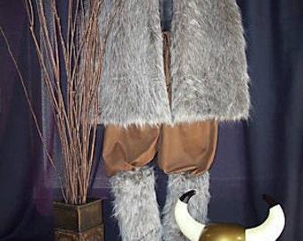 Men's Thor Viking/Renaissance Faux Fur Vest Pants and Faux Fur Boot Covers NEW