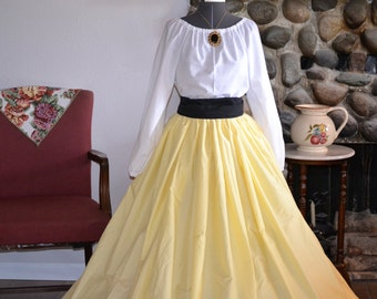 Girls Beauty and The Beast Civil War, Victorian, Reenactment Skirt, Blouse With Sash, One Size Fits Most Color Choices