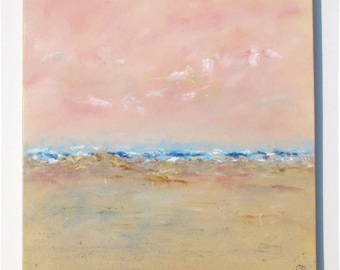 Abstract beach painting, large pink peach orange sunset beach, original acrylic square 20x20 large seascape painting