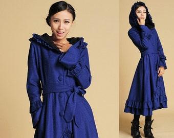 blue wool coat ruffled maxi coat hooded coat long trench coat  (380)