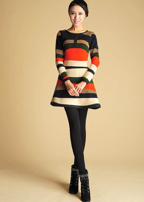 Womens Sweater Dress Mini Dress Cute Long Sleeve Dress