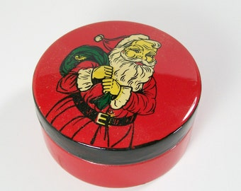 Santa Claus Lacquered Box Trinket Red Black Wooden Vintage Jewelry