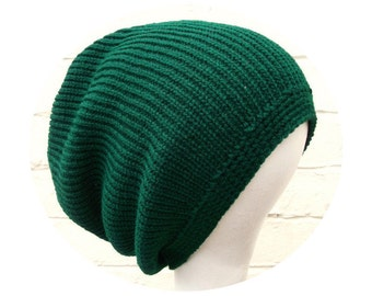 Green dreadlocks tam, beanie for dreads, warm winter accessory.