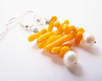 Orange Groves - Authentic Pearls & Real Coral Earrings- Affordable gifts - bridesmaid sets- beach weddings