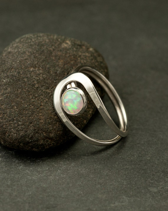 Opal Ring, Silver Opal Ring, Gemstone Ring, Sterling Silver Stone Ring, Handmade Sterling Silver Jewelry: Sizes 4-11