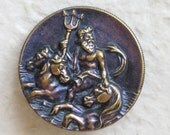 Neptune Riding The Waves Victorian Button LARGE Purple Original Tint c.1890