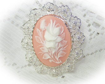 White Rose Floral Cameo Pendant Pin - Rose bud - Wedding Bouquet - White Flower - White and Pink - Brooch Pin Pendant Combination - Rosebud