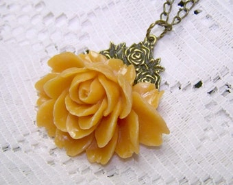 Large Rose Necklace - Victorian Style - Roses - BUTTERSCOTCH - Antiqued bronze accents - Cabbage Rose - Last One