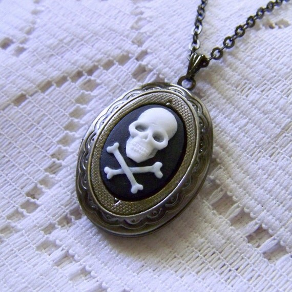PIRATE SKULL Locket - Noir Punk Goth Antiqued Silver Skull and Crossbones