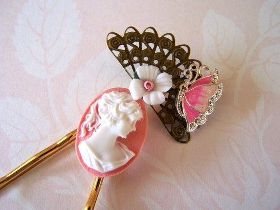Victorian Bobby Pin Set - French Twist Accessory - Unique OOAK Fan, Butterfly, Flowers, Cameo, Vintage Wedding Design - 3 pieces