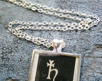 Lead Plumbum Element Alchemy Vintage textbook Illustration set in Silver Plated Pendant with Solid Sterling Silver Snake Chain