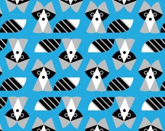 Cloud 9 Fabrics - Picture Pie by Ed Emberley - Raccoon in Blue Organic