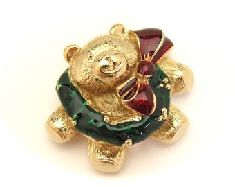 Christmas Bear Pin, Goldtone Holiday Jewelry, Enamel Red Green