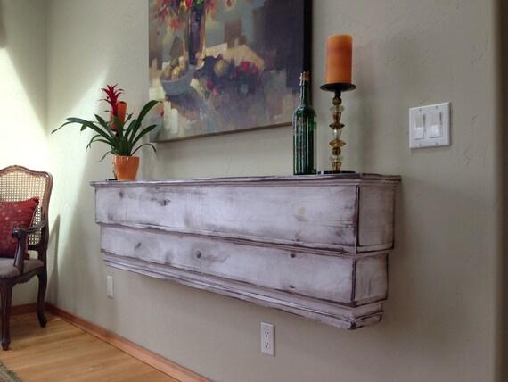 "Fireplace Mantel - Headboard - Bedroom Furniture - Wood Wall Shelf - Floating - Ledge - Wooden - Shabby - Cottage Furniture - Chic - 50"""