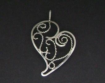 Sterling Silver Filigree Heart Pendant
