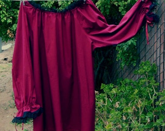 Renaissance Chemise Blouse Burgundy with Black Lace womens XS - XLg Custom Made