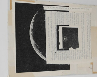 Moon Book Cover Collage / A Sliver of the Moon's Sun-Lit Face