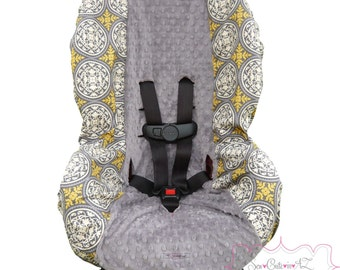 Toddler Car Seat Cover Aviary Scrollwork Granite with Charcoal