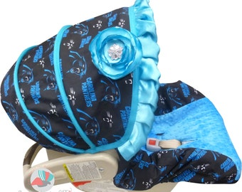 Car Seat Cover Design your own NFL (or College Team) Infant --Moves to Toddler