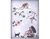 cat art pet collage vintage home decor shabby chic woman bird monkey lion umbrella tagt team