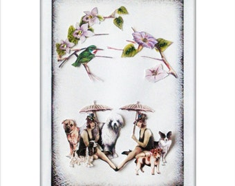 dog art pet collage vintage home decor shabby chic woman bird  flower nature tree pastel tagt team