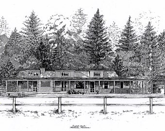 Custom Cottage, Summer Home, Cabin, Lake House, Beach House, Seaside Residence Pen & Ink Drawing