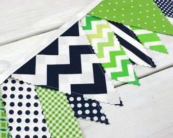 Bunting Banner Fabric Flags, Photography Prop, Nursery Decor, Birthday Decoration, Garland, Pennant - Navy Blue, Lime Green, Chevron, Dots