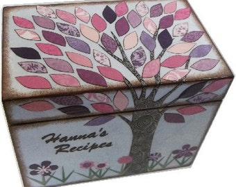 Recipe Box Decoupaged  Purple, Pink Tree Wedding Card Box Hand Made Baby Shower Keepsake Organization Holds 4x6 Recipe Cards  MADE TO ORDER